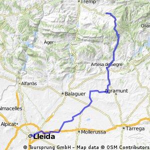 Isona nach Lleida
