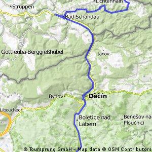 Dolní Posutevna - Sebnitz - Bad Schandau - Děčín - Ústí n.L.