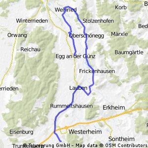 Ungerhausen, Holzgünz, Rummeltshausen, Lauben, Moosbach, Frickenhausen, Inneberg, Oberschönegg, Weinried, Egg a.d. Guenz