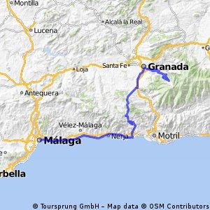 Málaga - Almuñecar - Puerto de la Cabra - Granada - Sierra Nevada - Cenes