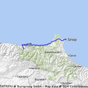 Cycling routes and bike maps in and around Sinop Province Bikemap
