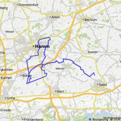 Von Bönen-Lenningsen zur Lippefähre Lupia in Hamm und zurück