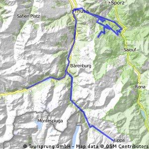 Alpok bringatúra: 7. nap: Splügen – Rofaschlucht – Juf előtt... (.2050m) – Rofaschlucht – Thusis (723 m) – Solis – Stierva – Alp Stierva (2145 m) – Mon – Tiefen