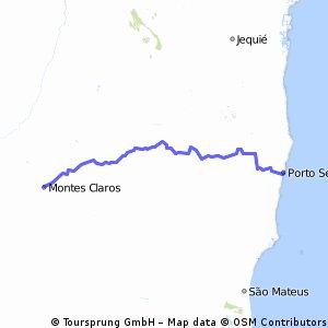 Montes Claros(MG) para Porto Seguro(BA)