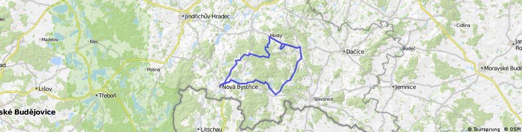 Nová Bystřice - Landštejn - U Jakuba - Senotín - Nová Bystřice