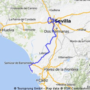 Moron Spain Map.Cycling Routes And Bike Maps In And Around Rota Bikemap Your