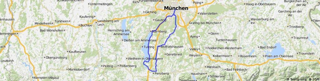 München Wolfratshausen Penzberg Seeshaupt Sarnberg München