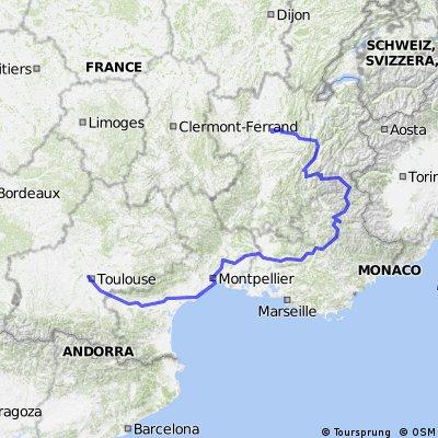 France et Alpes - Juillet 2013 - trajet fait