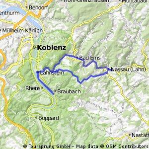 Lahnstein - Braubach - Becheln 53 km