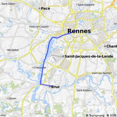 Rennes-Bruz par le canal