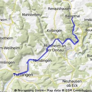 Bärenthal - Tuttlingen (Freibad) und zurück