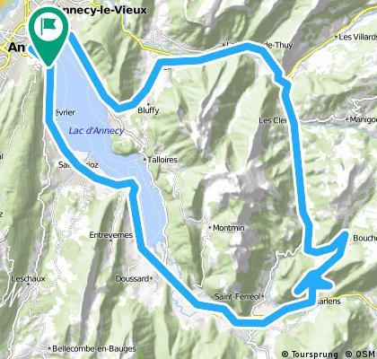 Lake Annecy loop via Mountains