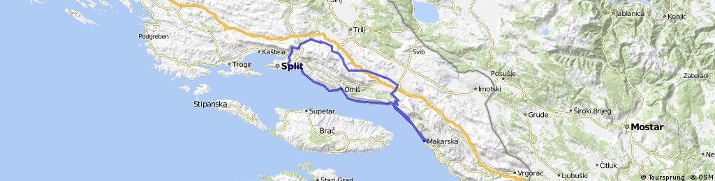 Makarska-Dubci-Šestanovac-Blato n/C,-Trnbusi-Gornji Dolac-Kotlenice-Dugopolje-Klis-SplitMakarska - 145 km.