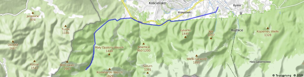 Bike Route from Zakopane to Dolina Chochołowska
