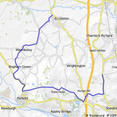 B+ Tinckler's lane to Coppull Moor via Bispham Green & Stoney Lane