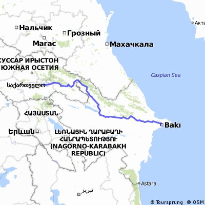 Tbilisi to Baku Route 2