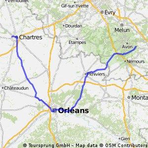 Fontainebleau-Orléans-Chartres 190km 410hm
