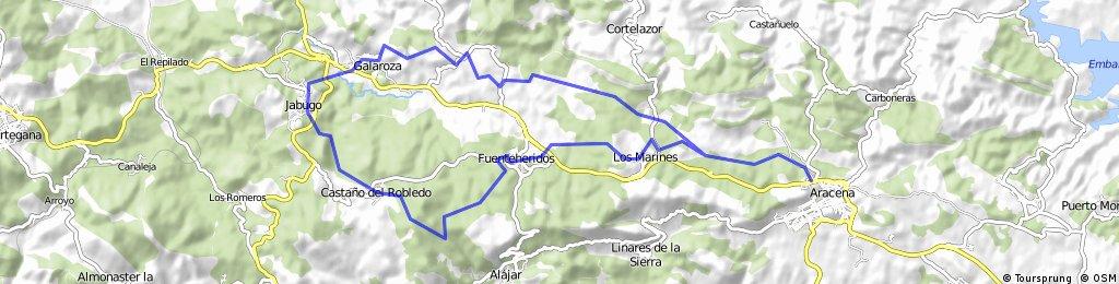 Aracena. Ruta del Jamón desnivel positivo 955 mts