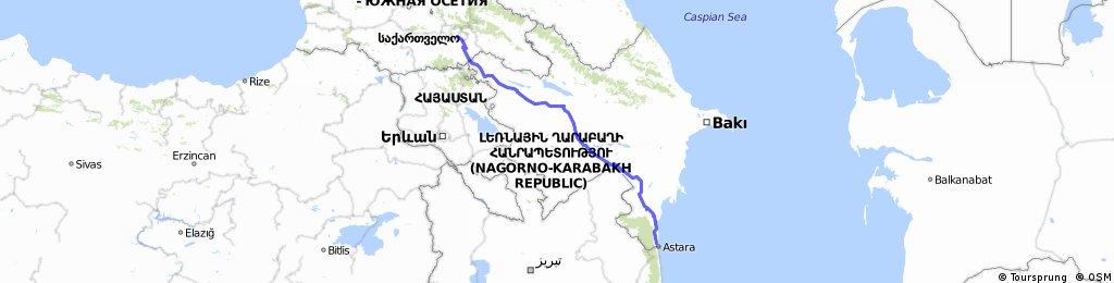 Azerbaijan to Georgia Tbilisi (Easiest) 595km