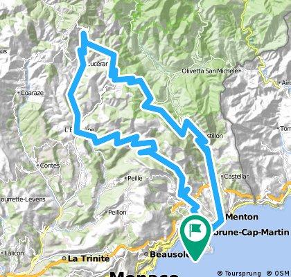 Menton-St Agnes-L'Escarene-Luceram-Col de Turini-Sospel-Menton