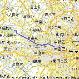 東京都庁ー村山貯水池