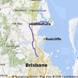 Bribie Island 65 km each way