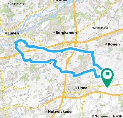 Unna-Lünern, Sportschule Kaiserau, Seepark Lünen und über den Sesekeradweg zurück