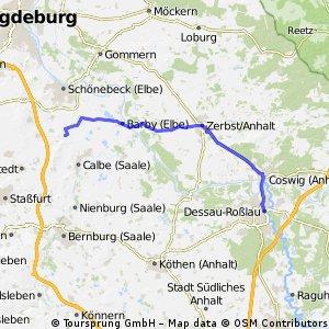 3. Mai 2015:Kleinmühlingen - Barby - Zerbst - Dessau. Friedensradfahrt 2015 1. - 8.5. Magdeburg - Berlin