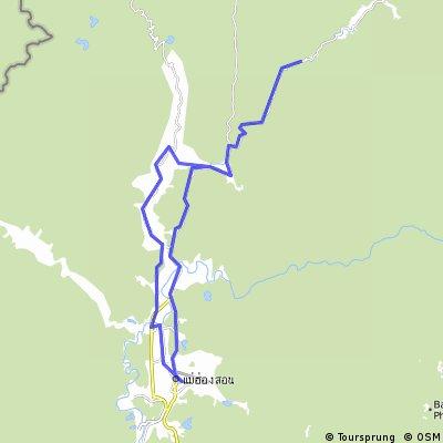 Mae Hong Son,auf der 1095 bis zur Passhöhe.Zurueck bis zum Fischtempel und dann durchs Tal zurueck