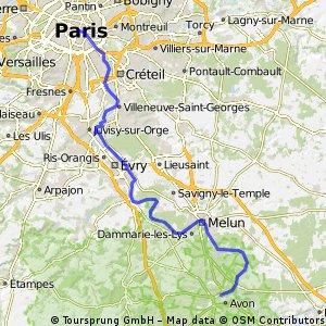 Fontainebleau nach Paris