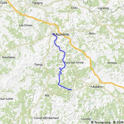 Vezelay France Map.Cycling Routes And Bike Maps In And Around Auxerre Bikemap Your