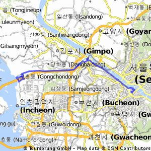 Cycling routes and bike maps in and around Incheon Bikemap Your