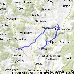 trasa Lysice - Boskovice - Obora - Boskovice - Obora