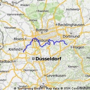 Ruhrtalweg von Krefeld bis Wetter