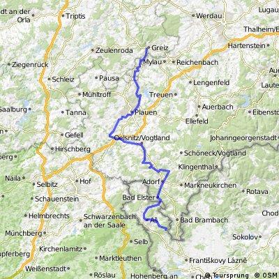 Elsterradweg von Bad Brambach über Elsterquelle nach Greiz