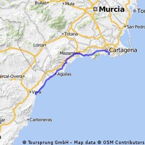 Vera - Cala Cortina (Cartagena) - 112km