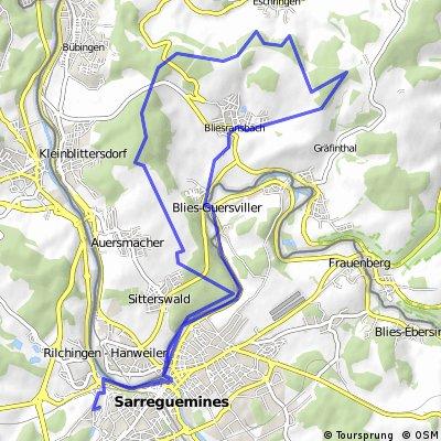 Bliesgau Tour ab Saargemünd bis MBT 33 KM 450 HM