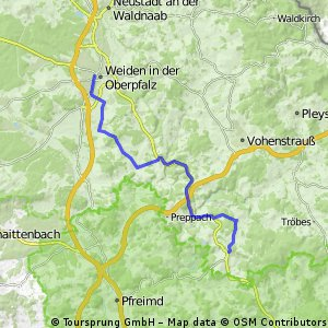 Route nach Tännesberg