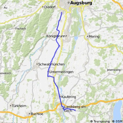 Route Augsburg - Ammersee