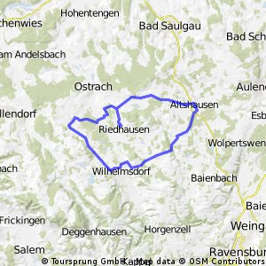 Riedhausen=>Hoßkirch=>Altshausen=>Ebenweiler=>Fleischwangen=>Wilhelmsdorf=>Waldbeuren=>Riedhausen