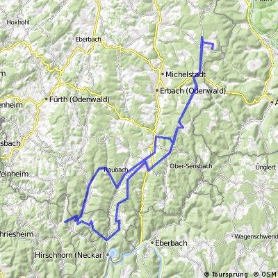Runde Vielbrunn - Bullau - Beerfelden - Finkenbach - Raubach - Schönmattenwag - Eichköpfel - Brombach - Rothenberg - Krähberg - Bullau - Würzberg