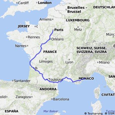 Nice- Narbonne- Toulouse- Bordeaux- Tours- Paris