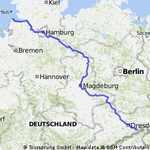 Mapa Elberadweg Mapa