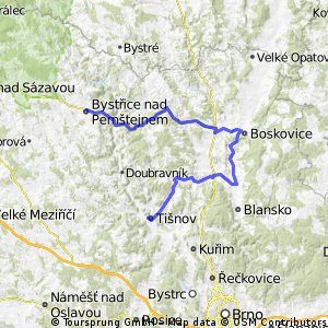 Bystřice n. P. - Kunštát - Boskovice - Rájec - Černá Hora - Tišnov