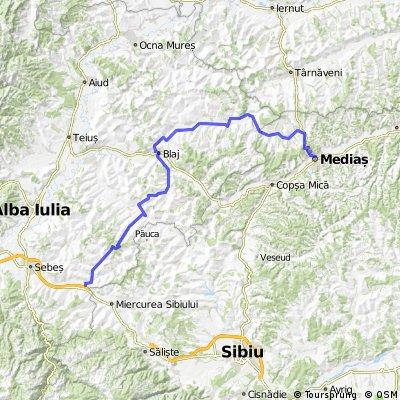 Medias - Blajel - Bazna - Boian - Cetatea de Balta - Jidvei - Blaj - Cergau Mare - Roșia de Secas - Ungurei -  Șpring - Cunta