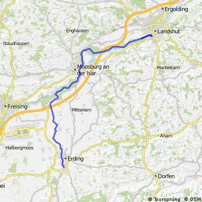 Landshut nach Erding entlang der Isar