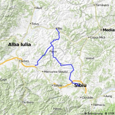 Sibiu-Alamor-Pauca-Rosia de Secas-Cergaul Mare-Blaj-Rosia de Secas-Ungurei-Spring-Cunta