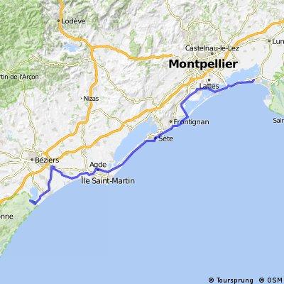 etapa č. 7 - La Grand Motte - Fleury (camping Municipal Rive d´Aude)