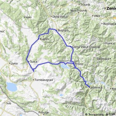 Jablanica - Bugojno - Kupres - Šuica - Prozor - Jablanica