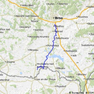 Dálková Cyklotrasa č. 4 Brno – směr Vídeň  Jantarová stezka; Cyklostezka Brno - Vídeň (Brno-Přízřenice - Hevlín (Wien))